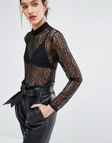 Just Female Demi Bodysuit in Leopard Lace