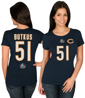 Majestic Women's Dick Butkus Navy Chicago Bears Hall of Fame Fair Catch V T-Shirt