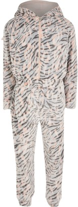 River Island Girls Brown tiger print fleece onesie