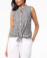 Eileen Fisher Organic Cotton Gingham Mandarin-Collar Tunic, Regular & Petite