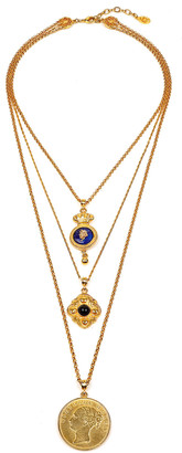 Ben-Amun Triple-Layer Charm Necklace, Gold/Blue