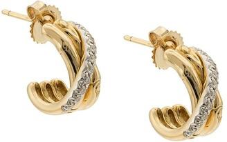 John Hardy 18kt yellow gold small J hoop diamond earrings