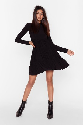 Nasty Gal Womens Now That You're Tier High Neck Mini Dress - Black - 4