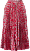 Gucci Pleated Printed Lamé Skirt - Red