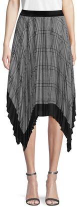 Laundry by Shelli Segal Plaid Handkerchief Hem Pleated Skirt