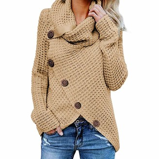 YJNH Womens Chunky Knit Sweater Turtleneck Asymmetric Hem Pullover Button Decoration Spring Autumn and Winter Casual Streetwear Outdoor Travelling Walking Camping top 5XL