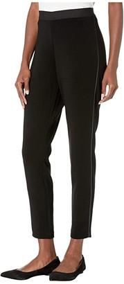 Eileen Fisher Tencel(r) Ponte Satin Stripe Leggings (Black) Women's Casual Pants
