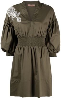 Twin-Set Embroidered Puff-Sleeve Dress