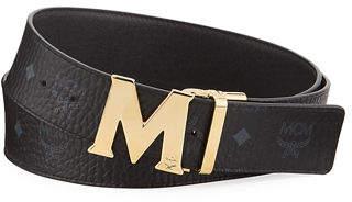 MCM Claus Golden Reversible Visetos/Saffiano Belt