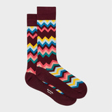 Paul Smith Men's Burgundy 'Fleet Chevron' Socks