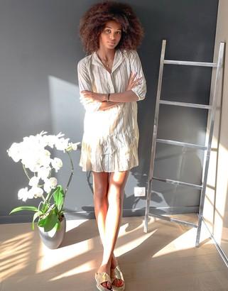 Vero Moda smock dress in metallic stripe