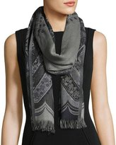 Sabira Desiree Paisley Wool Stole, Black/Gray