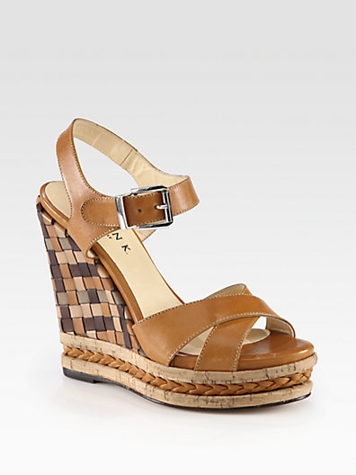Marvin K Carmen Woven Leather Wedge Sandals