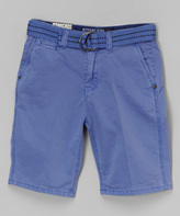 Micros Periwinkle Belted Shorts - Boys
