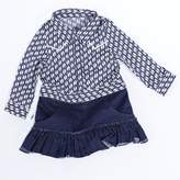 """Joined At The Hip Babywear """"Marlowe"""" style - Girl's one-piece jumpsuit, 6-12 months, Blue/white and denim"""