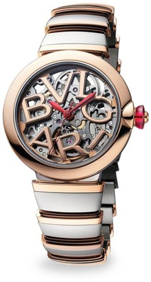 Bvlgari LVCEA Stainless Steel & 18K Rose Gold Bracelet Skeleton Watch
