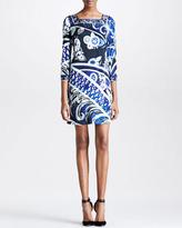 Square-Neck Printed Dress