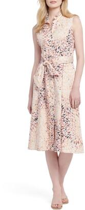 Nic+Zoe Morning Burst Sleeveless Tie Waist Midi Shirtdress
