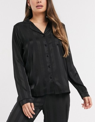 Loungeable stripe jacquard satin pajama top in black