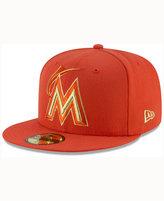 New Era Miami Marlins Team On Metallic 59FIFTY Cap