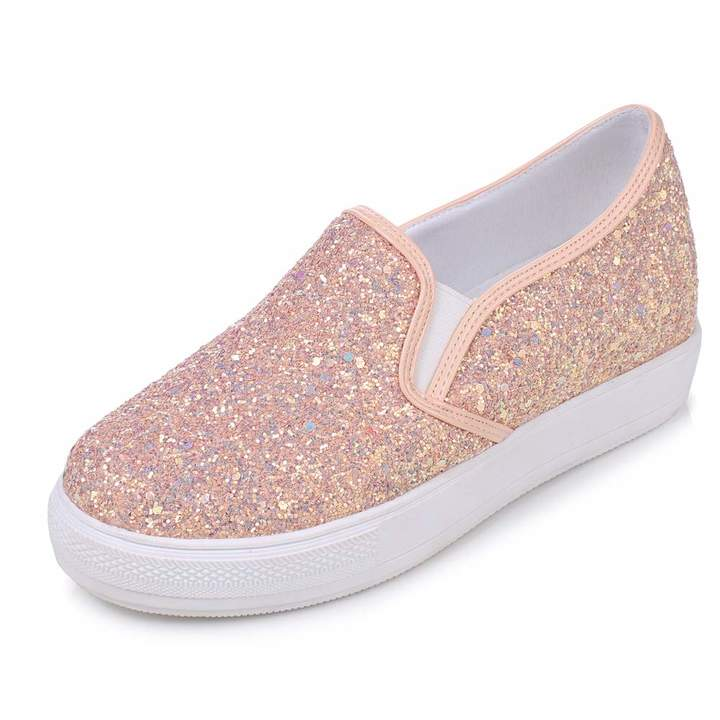 bfec760e1ca1b DecoStain Women's Fashion Platform Glitter Sequin Slip On Low Heel Loafers  Hidden Heel Wedges Comfortable Sneakers Flat Shoes