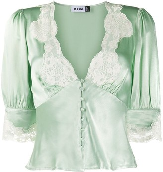 Rixo Amanda lace trim blouse