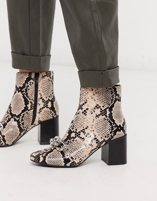 Miss Selfridge ankle boots with chain detail in snake