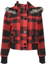 Forever 21 Plaid Tweed Hooded Jacket