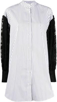 MSGM Lace Panelled Striped Shirt Dress