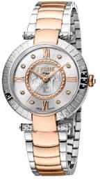 Ferré Milano 36mm Bracelet Watch w/ Logo Bezel, Rose/Steel