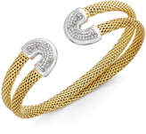 Macy's Diamond Horseshoe Double Mesh Cuff Bracelet (1/2 ct. t.w.) in 14k Gold-Plated Sterling Silver