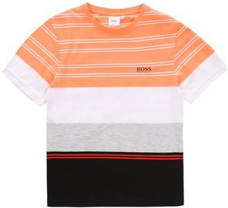 HUGO BOSS Boys Short Sleeve Stripe Block T-Shirt - Orange