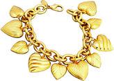 One Kings Lane Vintage KJL Gold Puffy Heart Charm Bracelet