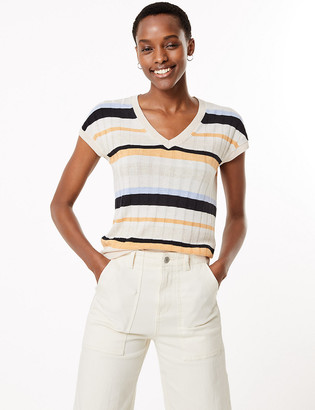 Marks and Spencer Striped V-Neck Top with Linen