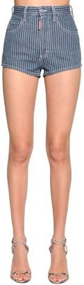 DSQUARED2 Striped Cotton Denim Shorts
