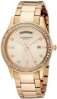 Akribos XXIV Women's AK691RG Impeccable Rose Gold-Tone Stainless Steel Crystal Bezel Bracelet Watch