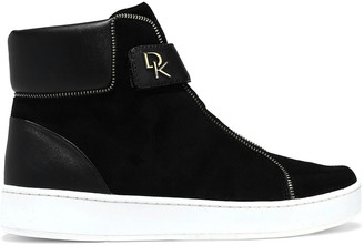 Donna Karan Tria Leather-paneled Suede High-top Sneakers