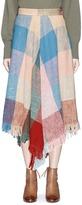Chloé Fringe hem colourblock open weave midi skirt