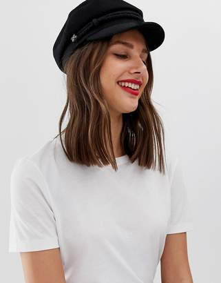 Asos Design DESIGN high crown wool baker boy hat-Black