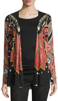 Etro Stud-Print Wrap Cardigan, Red/Black