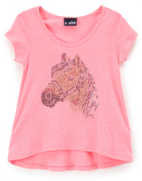 A Wish Pink Sequin Horse Hi-Low Tee - Toddler & Girls