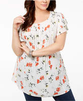 Style&Co. Style & Co Plus Size Paradise Bloom Printed Pintuck Pleated-Sleeve Blouse, Created for Macy's