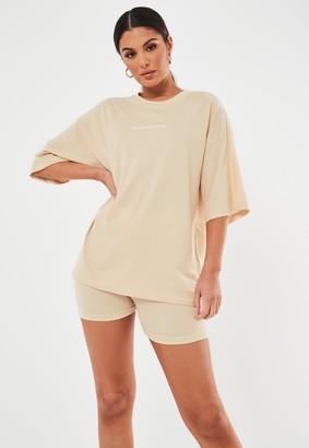 Missguided Petite Sand Oversized Drop Shoulder Slogan T Shirt