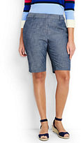 """Lands' End Women's Plus Size 12"""" Chambray Shorts-Evening Sky Chambray"""