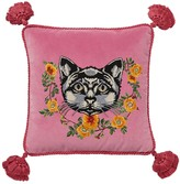 Gucci Cat Embroidered Velvet Pillow