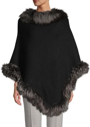 Belle Fare Silver Fox Fur-Trim Wool-Blend Poncho