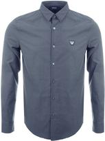 Giorgio Armani Jeans Slim Fit Diamond Stretch Shirt Blue