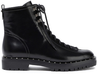 Valentino Soul Rockstud Glossed-leather Ankle Boots