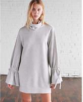 Express tie sleeve mock neck sweatshirt dress