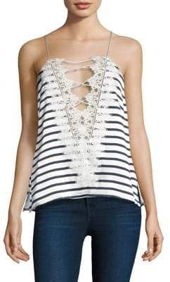 CAMI NYC Reversible Striped Lace-Up Top